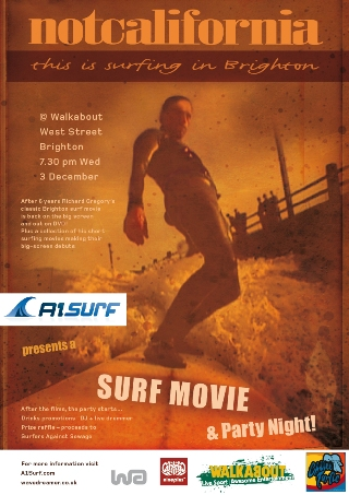 A1Surf Is Proud To Present Its First Surf Movie And Party Night On Wednesday 3 December At Walkabout In Brighton