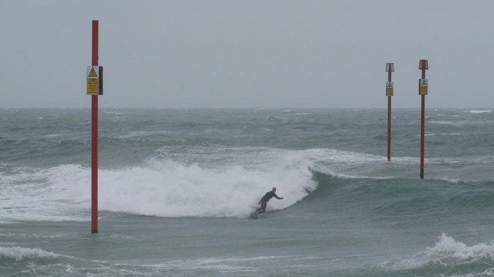 Surfing pipe at southwick